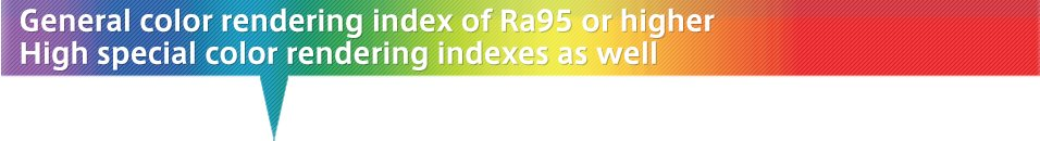 General color rendering index of Ra95 or higher  High special color rendering index as well
