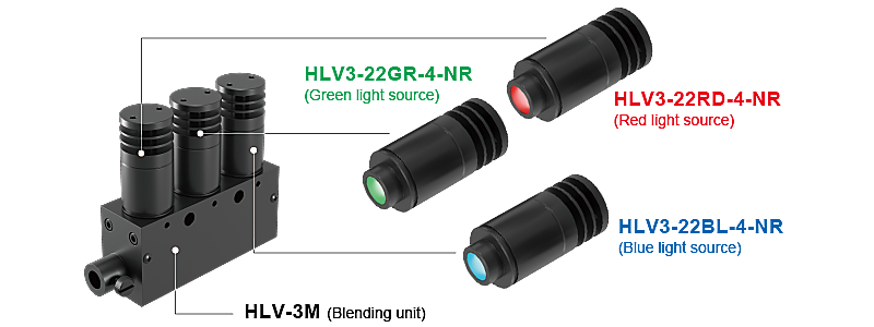 HLV3-22GR-4-NR(Green light source),HLV3-22RD-4-NR(Red light source),HLV3-22BL-4-NR(Blue light source),HLV-3M (Blending unit)(image)