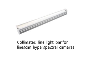 Colimated line light bar for linescan hyperspectral cameras