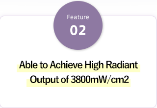 Able to Achieve High Radiant Output of 3800mW/cm2