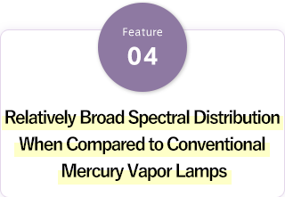 Relatively Broad Spectral Distribution When Compared to Conventional Mercury Vapor Lamps